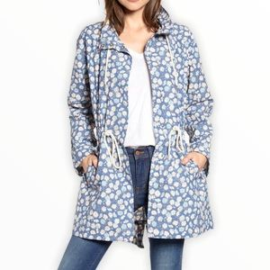 NWT Madewell Ruffle-Neck Raincoat in French Floral